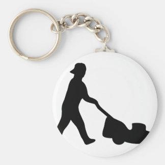 icône de tondeuse à gazon porte-clé rond