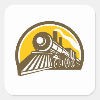 Icône de train de locomotive à vapeur sticker carré