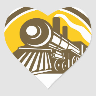 Icône de train de locomotive à vapeur sticker cœur