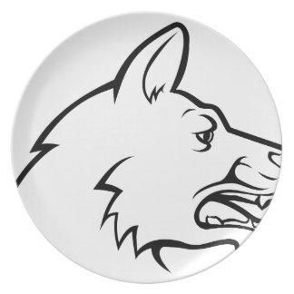 Icône de visage de chien assiette
