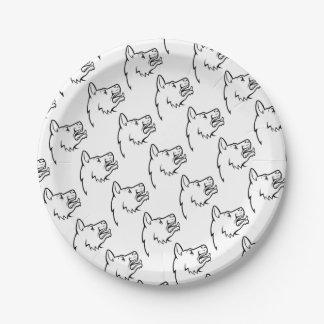 Icône de visage de chien assiettes en papier