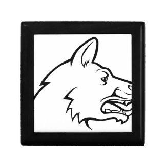 Icône de visage de chien petite boîte à bijoux carrée