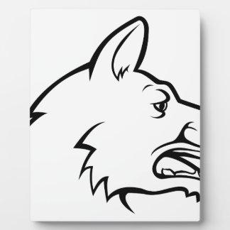 Icône de visage de chien plaque photo