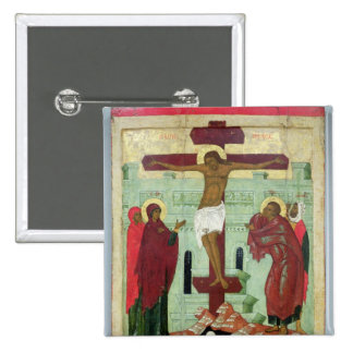 Icône dépeignant la crucifixion avec la Vierge Badge Carré 5 Cm