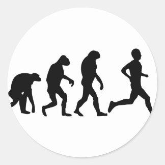 icône d'évolution de coureur sticker rond