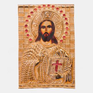 Icône d'or de Jésus-Christ Serviettes Éponge