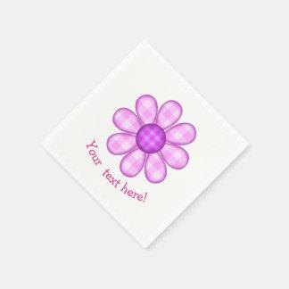 Icône graphique de fleur de plaid rose pourpre serviette en papier