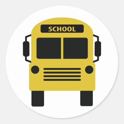 icône jaune d'autobus scolaire adhésif rond