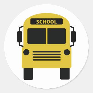 icône jaune d'autobus scolaire sticker rond