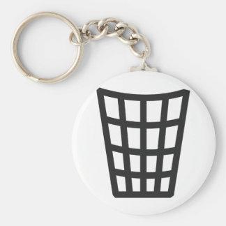 icône noire de bac à ordures porte-clé rond
