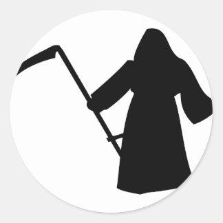 icône noire de la mort de faucheuse autocollant rond