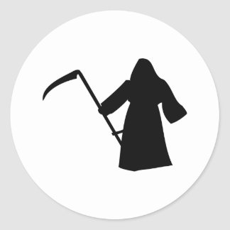 icône noire de la mort de faucheuse adhésifs ronds