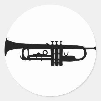 icône noire de trompette adhésif rond