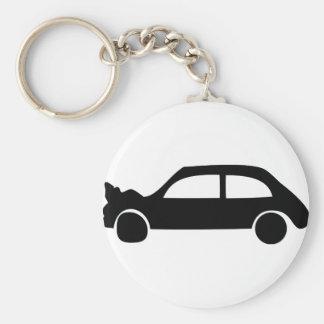icône noire de voiture d'accident porte-clé rond