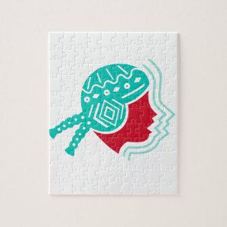 Icône péruvienne de côté de casquette de fille puzzle