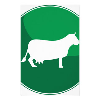 Icône ronde de vache verte papier à lettre personnalisable