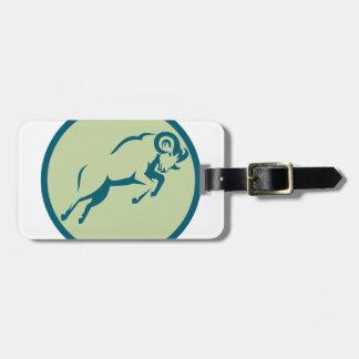 Icône sautante de cercle de moutons de montagne étiquette à bagage