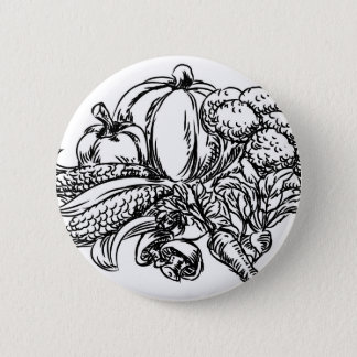 Icône tirée par la main de style grunge de légumes pin's