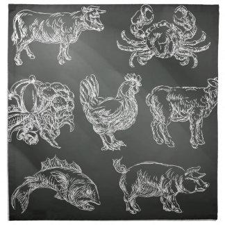 Icônes animales tirées par la main de craie de serviettes en tissus