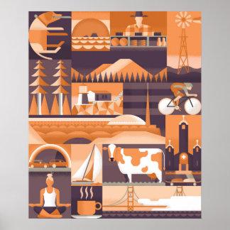 Icônes de Marin et de San Francisco Poster