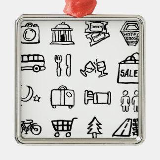 Icônes de tourisme et de voyage ornement carré argenté