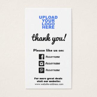 Icônes sociales de médias d'appréciation de client cartes de visite