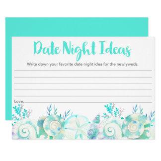 Idées nautiques de nuit de date de coquillage carton d'invitation  11,43 cm x 15,87 cm