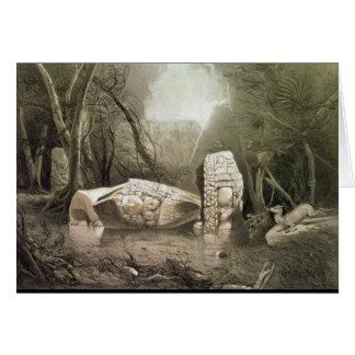 Idole maya cassé chez Copan, Guatemala Carte De Vœux