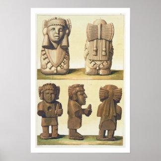 Idoles aztèques Mexique lithographie de couleur Affiche