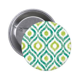 Ikat, tribal, vert, jaune, blanc, à la mode, badge rond 5 cm