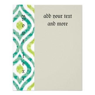 Ikat, tribal, vert, jaune, blanc, à la mode, prospectus 11,4 cm x 14,2 cm