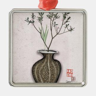 Ikebana 4 par les fernandes élégants ornement carré argenté