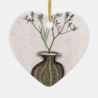 Ikebana 4 par les fernandes élégants ornement cœur en céramique