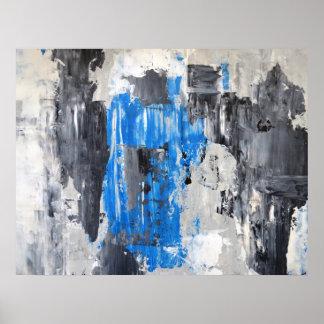 """""""Il a fait"""" l'affiche bleue et grise d'art Affiche"""