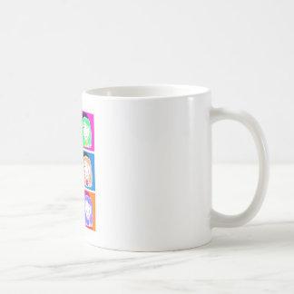 """Il effiloche «les Questions de Lu Pop-Art """" Mug Blanc"""
