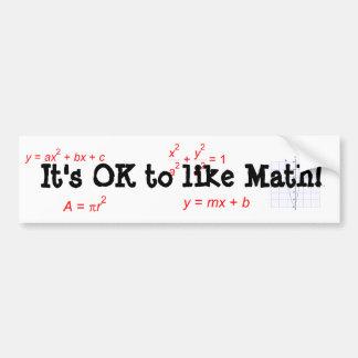 Il est CORRECT d'aimer des maths ! Autocollant De Voiture