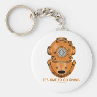 Il est temps d'aller plonger (le casque de plongée porte-clé rond