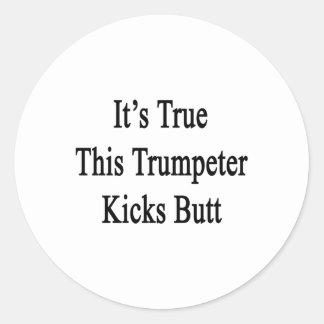 Il est vrai ce bout d éruptions de trompettiste autocollant rond