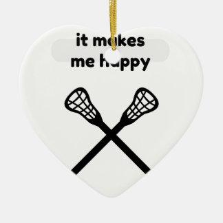 Il fait me fait la Heureux-Lacrosse Ornement Cœur En Céramique