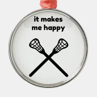 Il fait me fait la Heureux-Lacrosse Ornement Rond Argenté