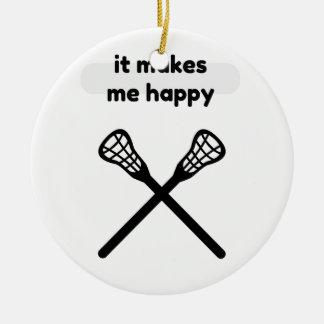 Il fait me fait la Heureux-Lacrosse Ornement Rond En Céramique