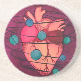 il porte des verres coeur spatial dessous de verre en grès