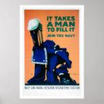 Il prend un homme pour remplir uniforme - la marin poster