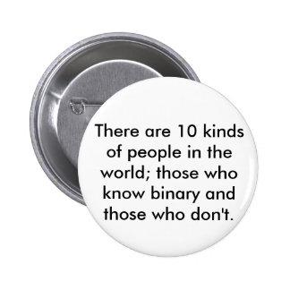 Il y a 10 genres de personnes dans le monde ; thos pin's