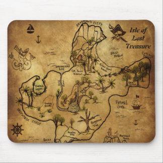 Île de carte perdue de trésor tapis de souris