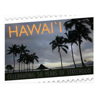 Île de carte postale d'anniversaire de statehood