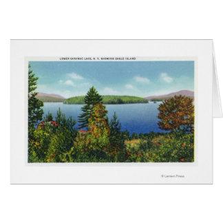 Île d'Eagle et vue inférieure de lac Saranac Carte De Vœux