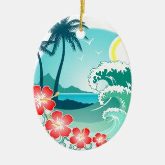 Île hawaïenne 2 ornement ovale en céramique