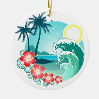 Île hawaïenne 2 ornement rond en céramique