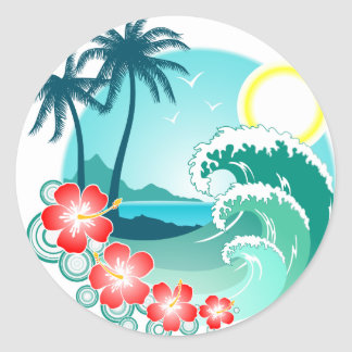 Île hawaïenne 2 sticker rond